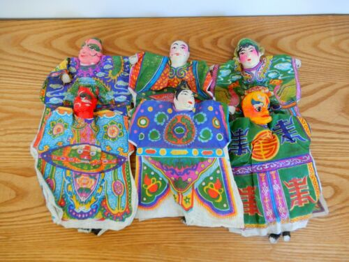Set of 6 vtg paper mache Chinese opera hand puppets shadow play dolls folk art