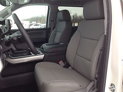 2014 Chevy Silverado Sierra Crew Katzkin leather seat cover set dark ash lt gray