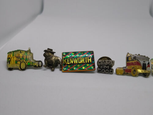 Collection of Vintage 7 Trucking/Other Pins, Mack, Kenworth, More