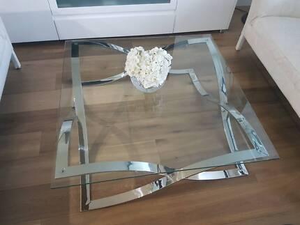 SQUARE GLASS & CHROME COFFEE TABLE