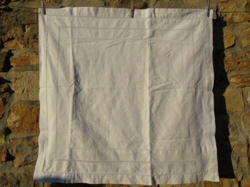 French vintage white cotton  linen euro sham pillow case ledderwork monogram