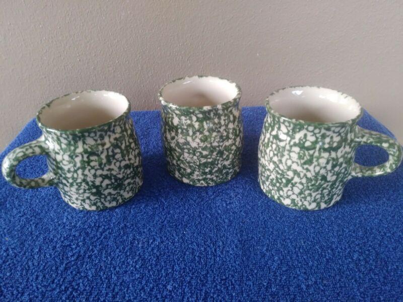 3-Roseville Spongeware Green Speckled Coffee Mugs