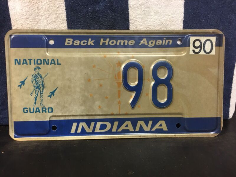 1990 Indiana National Guard License Plate (2-Digit #98)