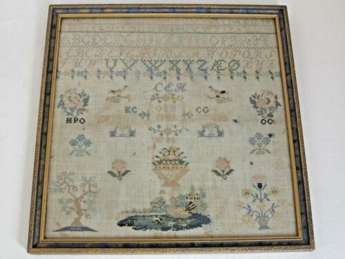 Antique English Hand Stitched Pictorial Needlework Sampler dated 1844