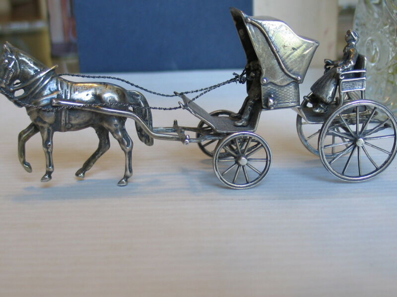Antique Hand Made Figurine Horse & Coach Sterling Silver Collectible