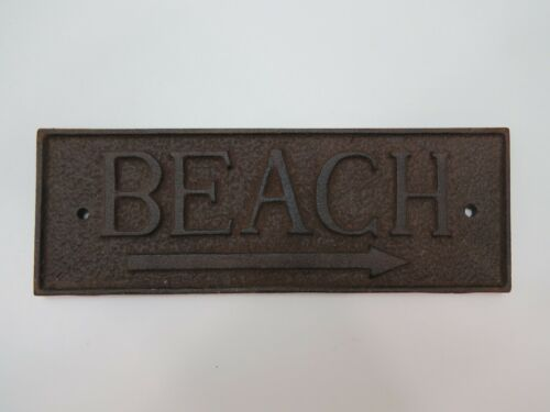 """Beach"" Cast Iron Metal Sign Fake Rust Look (B5C288)"