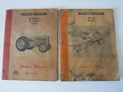Vintage Massey Ferguson Mf35 Special Deluxe And No.10 Baler Owners Manual