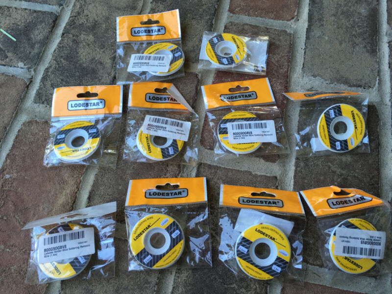 lot of 10 Lodestar 1.5mm Desoldering Braid Wick Solder Remover No Residue 5 FT