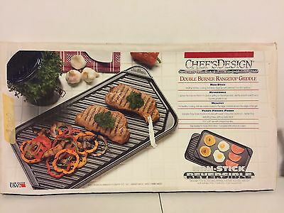 Chef's Design Double Burner Reversible Grill/Griddle With Non-Stick 3560 Grill Chefs Non Stick Griddle