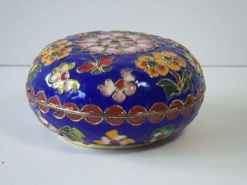 "Vintage Chinese Cloisonné Enamel Round Trinket Box Floral Butterfly Motif 2 3/4"""