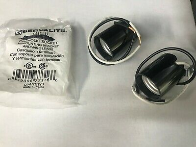 2 Pk Phenolic Light Bulb Socket W Mounting Bracket Wire Leads