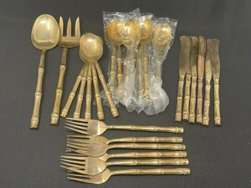 26 pc Bronze over Nickel Bamboo Handle Vintage Flatware pieces