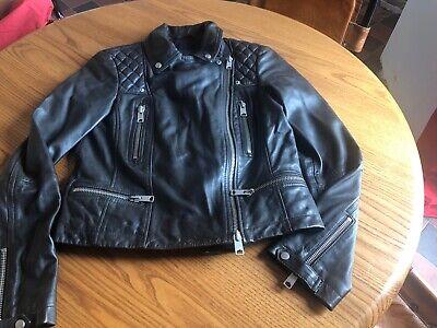 All Saints Leather Biker Jacket Bleeker Cargo Conroy Size 10uk 6us 38eu