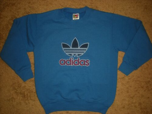 VTG ADIDAS TREFOIL LOGO YOUTH SWEATSHIRT PULLOVER 50% COTTON 50% POLYESTER
