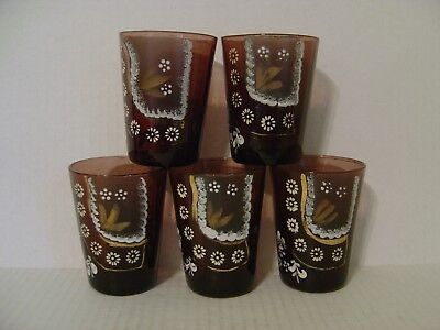 """VINTAGE SET OF FIVE BEAUTIFUL HAND PAINTED AMETHYST GLASS TUMBLERS GLASSES 4"""""""