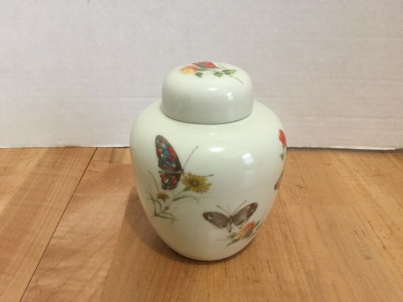 Takahashi San Francisco DEW Pattern ( Butterflies) Small Ginger Jar W Lid