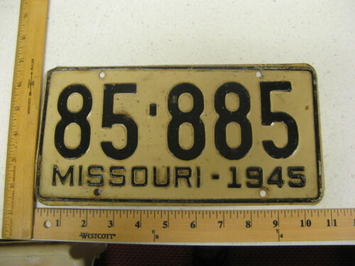 1945 45 MISSOURI MO LICENSE PLATE TAG 85-885 NICE NUMBER