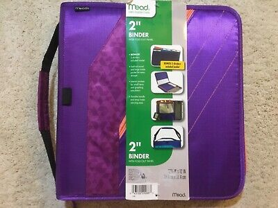 Mead 2 Inch Zipper Binder Fold Out Panel Purple Handle Strap New