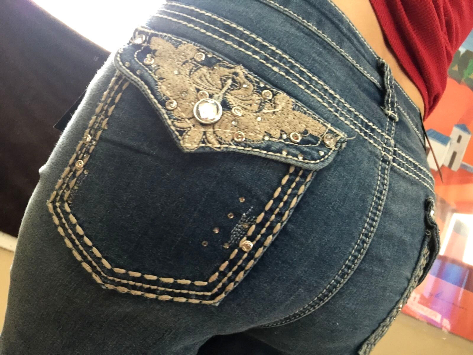 5f3f1ed26ca Earl Jeans SIZE 14 Bling Flap Pocket Stretch Western Scroll Capri s ...
