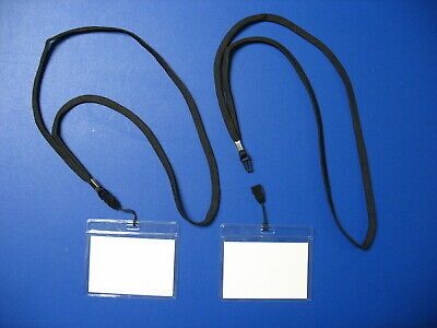 Security Badge I.d. Vinyl Card Name Tag Holders Detachable Lanyard Clips