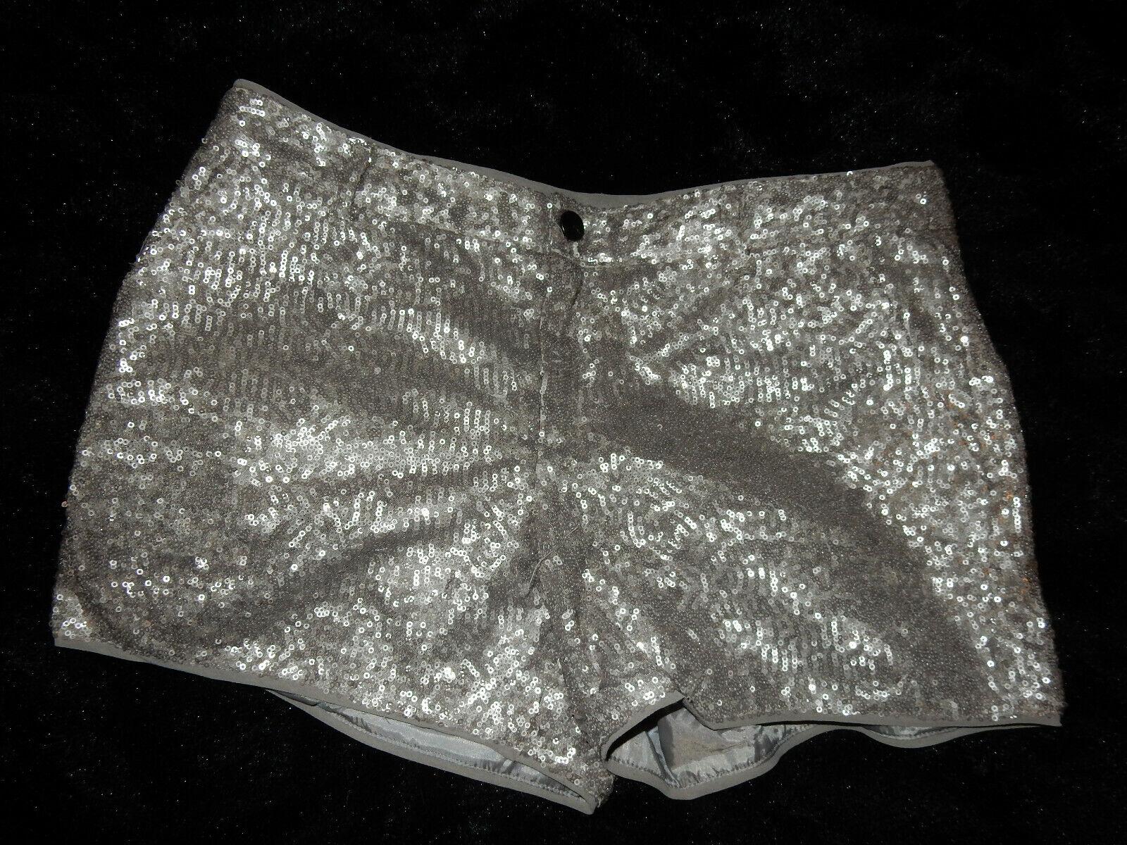 Mango - Shorts / kurze Hose mit Pailletten - Silber