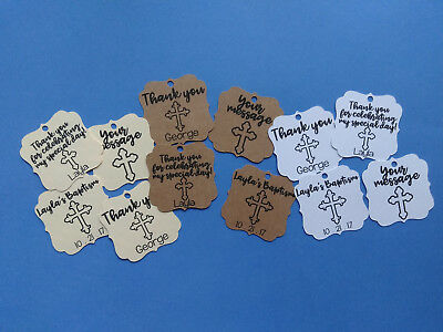 24 personalized Cross THANK YOU Wedding favor tags, Baptism, Christening - Thank You Tags