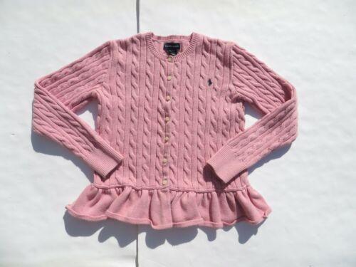 RALPH LAUREN XL 16 Girls Cable Peplum Cardigan Sweater Knit Top Pink Cotton