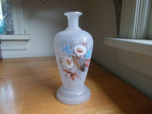 PONTILED 1870s FROSTED BRISTOL GLASS TOILET WATER BOTTLE HAND PAINTED FLOWERS