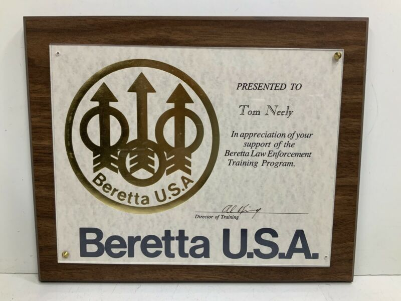 Beretta USA Law Enforcment Training Program Plaque Olympian Tom Neely