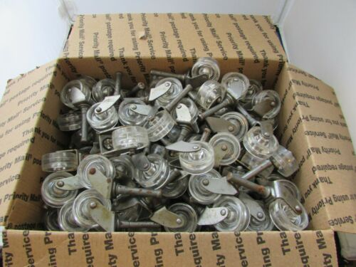 "140 +- VTG NOS Clear Plastic Acrylic Casters 1 1/4"" Wheels Retro Mid Century"