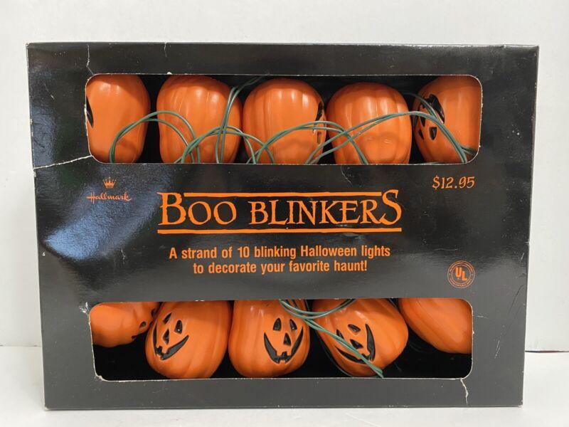 Vtg '80s 10 Hallmark Boo Blinkers Jack O Lantern Pumpkin Halloween Party Lights