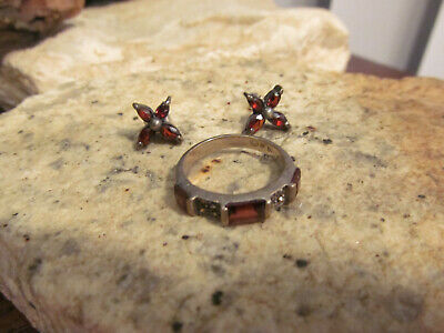Vintage 925 Sterling Silver Garnet Marcasite Ring 7 Stud Butterfly Earrings Set Garnet Sterling Silver Butterfly Ring