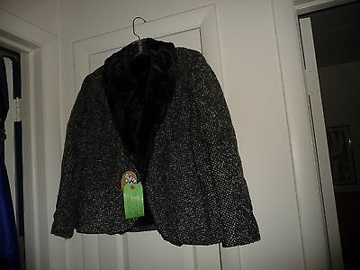 #714 vtg BLACK & GRAY TWEED heavy wool ladies walking  SUIT  FUR LINED JACKET