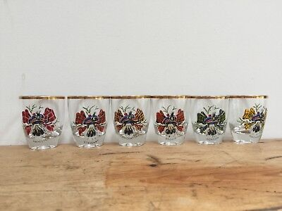 VINTAGE GOLD RIMMED  CLAN CREST DRAM/SHOT GLASSES - SET OF 6
