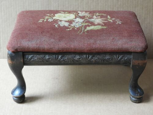 VINTAGE RED FLORAL NEEDLEPOINT & CARVED MAHOGANY SIDE PANELS FOOTSTOOL #1