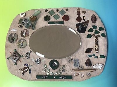 Pottery Wood Slab Mirror Wall Plaque Hanging Ceramic Unique Good Luck Blessing