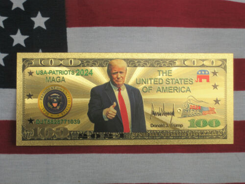 Gold President Donald Trump Banknote 2024 Coins Note Political Federal History