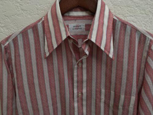 Vintage 1970s GANT Shirtmakers Red and White Stripe Shirt w Blue Trim 14.5 70