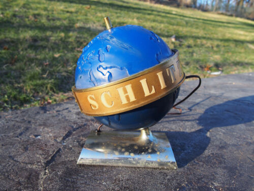 Vintage 1956 Schlitz Beer Lighted Spinning Belt Globe Bar Register Display Sign
