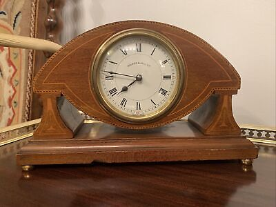 Edwardian Art Nouveau Inlaid Walker And Hall Inlaid Mantle Clock French Movement