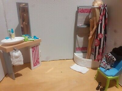 Barbie Mattel Bathroom Playset with Furniture Doll And Accessories