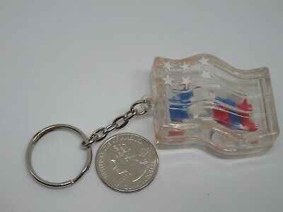 Vintage Clear Plastic American flag Keychain Fob  (Clear Plastic Keychains)