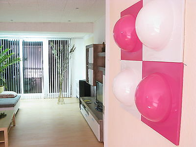 4 Bubble Elemente 70er 60er Style POP ART Wand Bild Bilder 2 weiß 2 pink  Nr 6