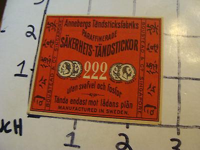 Vintage matchbook label: ANNEBERGS TANDSTICKFABRIKS SAKERHETS, SWEDEN