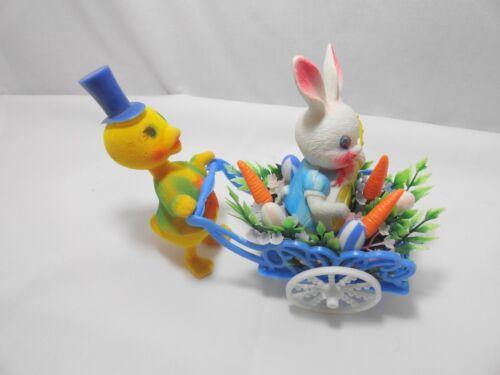 Vintage Felt Duck Pushing Cart w Easter Rabbit Bunny Easter Eggs