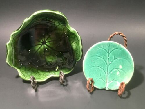 Antique Majolica Lily Pad Butter Pat and Lily Pad Tray (a)
