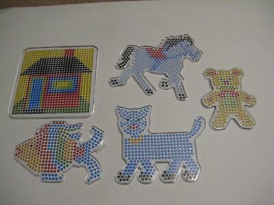5 Large Pegboards w/ Colored Design Inserts. For Perler Fuse Beads. Iron. Melt. ()