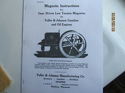 1919 Fuller Johnson Engine Magneto Instruction Manual Gas And Oil Engines