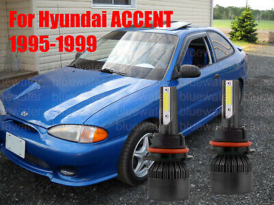 LED ForACCENT 1995-1999 Headlight Kit 9004 HB1 6000K White Bulbs High-Low Beam
