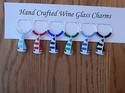 """SAILBOATS, HOBIE CAT , CATAMARAN ""SET OF 6 HAND CRAFTED WINE GLASS CHARMS"